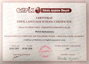 Certificate of Proficiency in English preparatory course