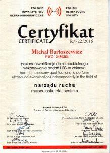 Certyfikat PTU Ortopeda z USG Narządu Ruchu Warszawa